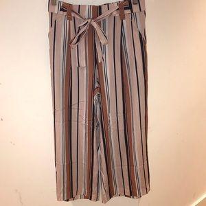Zara High Rise Multi Striped Culottes